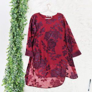 Soft Surroundings Floral Long Sleeve Tunic Top M